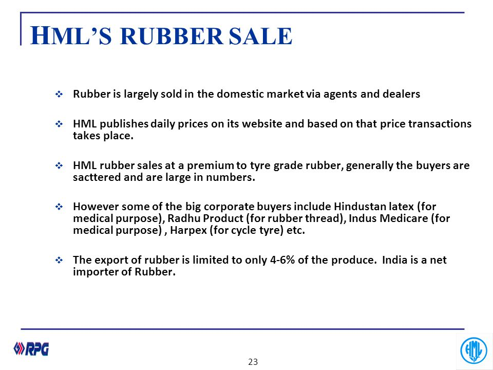 H ML'S RUBBER SALE  Rubber is largely sold in the domestic market via agents and dealers  HML publishes daily prices on its website and based on tha