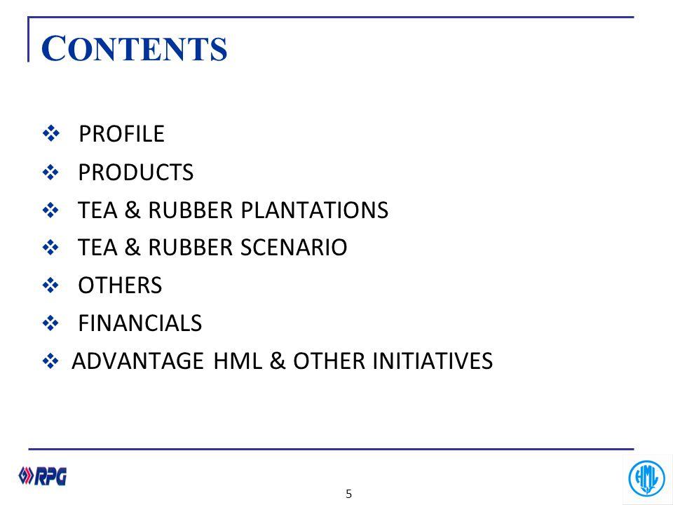 C ONTENTS  PROFILE  PRODUCTS  TEA & RUBBER PLANTATIONS  TEA & RUBBER SCENARIO  OTHERS  FINANCIALS  ADVANTAGE HML & OTHER INITIATIVES 5