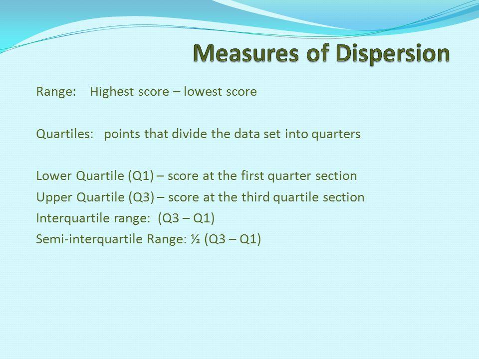 Range: Highest score – lowest score Quartiles: points that divide the data set into quarters Lower Quartile (Q1) – score at the first quarter section