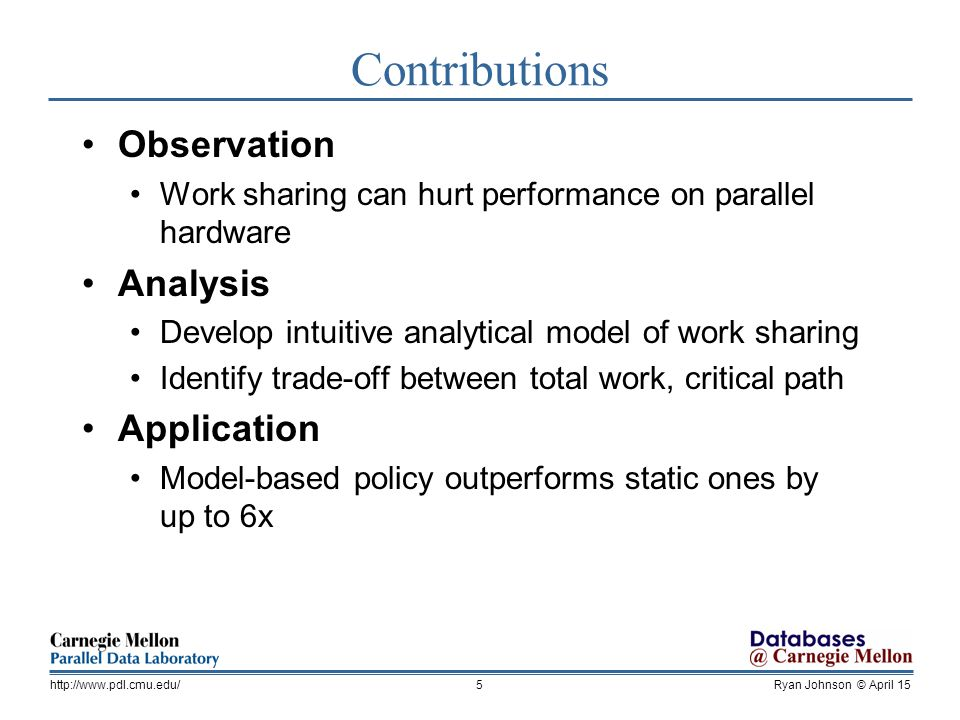 Ryan Johnson © April 15http://  Contributions Observation Work sharing can hurt performance on parallel hardware Analysis Develop intuitive analytical model of work sharing Identify trade-off between total work, critical path Application Model-based policy outperforms static ones by up to 6x