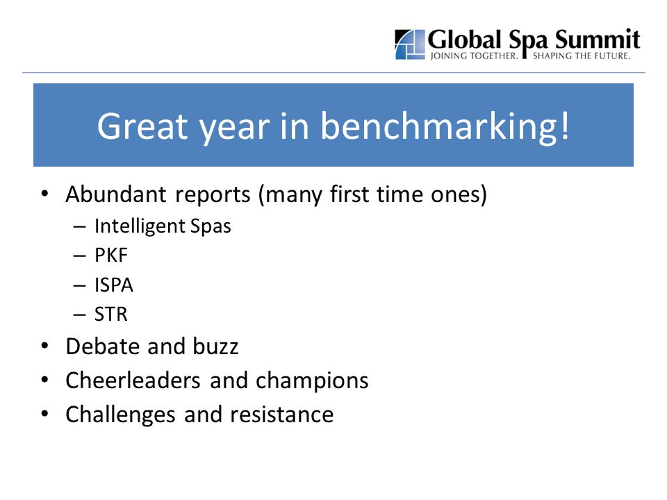 Great year in benchmarking.