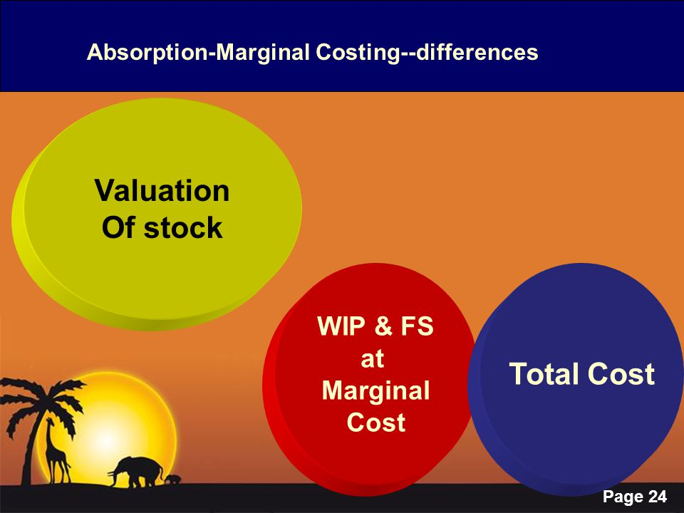 Page 24 Absorption-Marginal Costing--differences Valuation Of stock WIP & FS at Marginal Cost Total Cost
