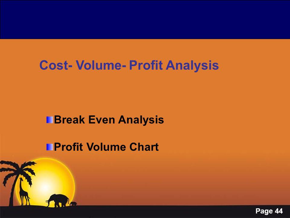 Page 44 Cost- Volume- Profit Analysis Break Even Analysis Profit Volume Chart