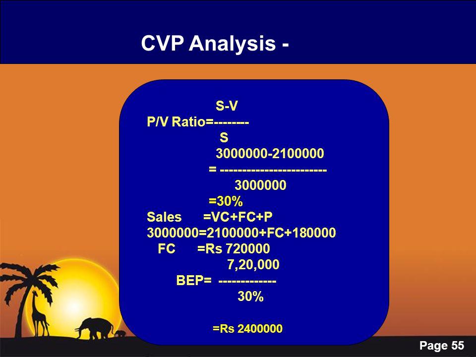 Page 55 CVP Analysis - S-V P/V Ratio=-------- S 3000000-2100000 = ------------------------ 3000000 =30% Sales =VC+FC+P 3000000=2100000+FC+180000 FC =R