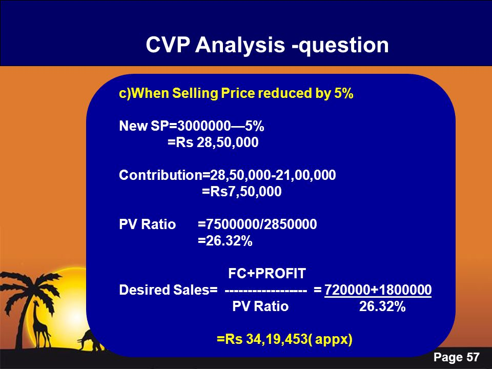 Page 57 CVP Analysis -question c)When Selling Price reduced by 5% New SP=3000000—5% =Rs 28,50,000 Contribution=28,50,000-21,00,000 =Rs7,50,000 PV Rati