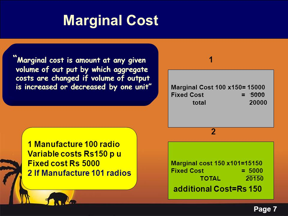 Page 18 Marginal Costing ---Characteristics Pricing Pricing is based on Contribution & Marginal Costs Pricing is based on Contribution & Marginal Costs