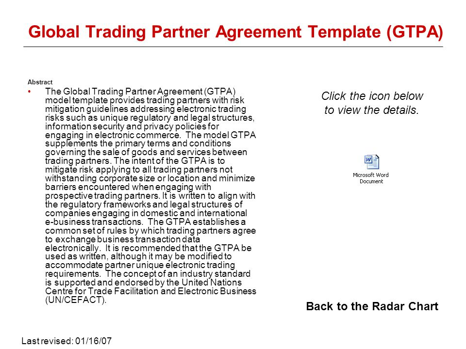 Global Trading Partner Agreement Template (GTPA) Abstract The Global Trading Partner Agreement (GTPA) model template provides trading partners with risk mitigation guidelines addressing electronic trading risks such as unique regulatory and legal structures, information security and privacy policies for engaging in electronic commerce.