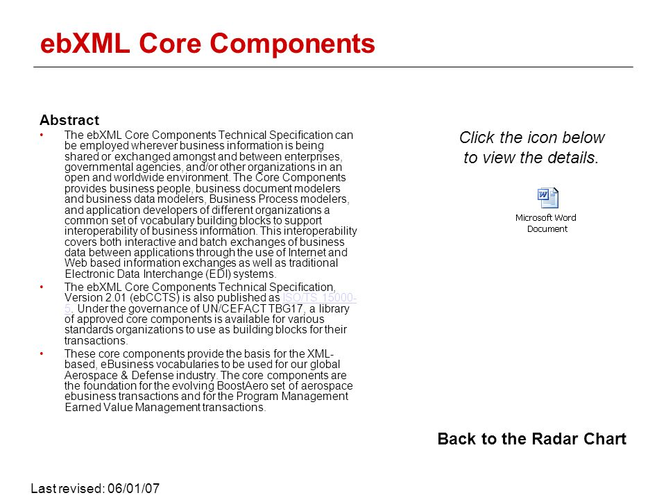 ebXML Core Components Abstract The ebXML Core Components Technical Specification can be employed wherever business information is being shared or exchanged amongst and between enterprises, governmental agencies, and/or other organizations in an open and worldwide environment.