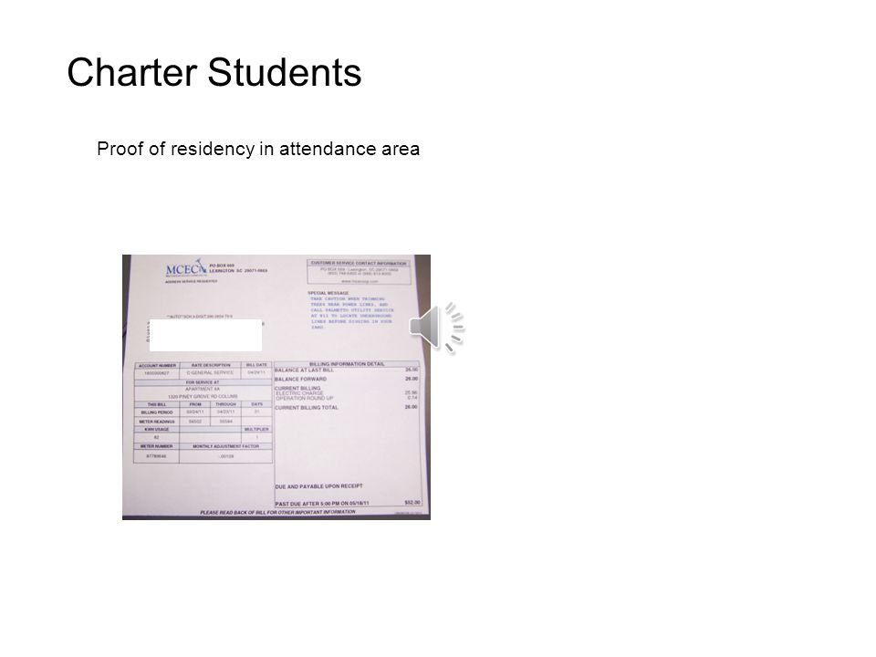 Charter Students Proof of residency in attendance area