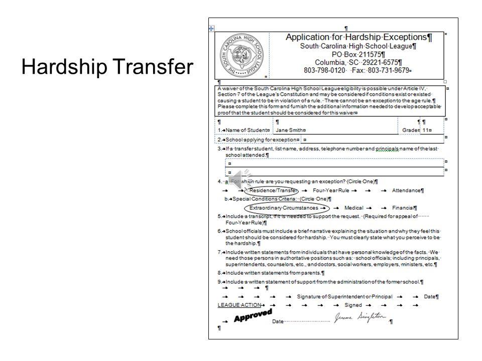 Hardship Transfer