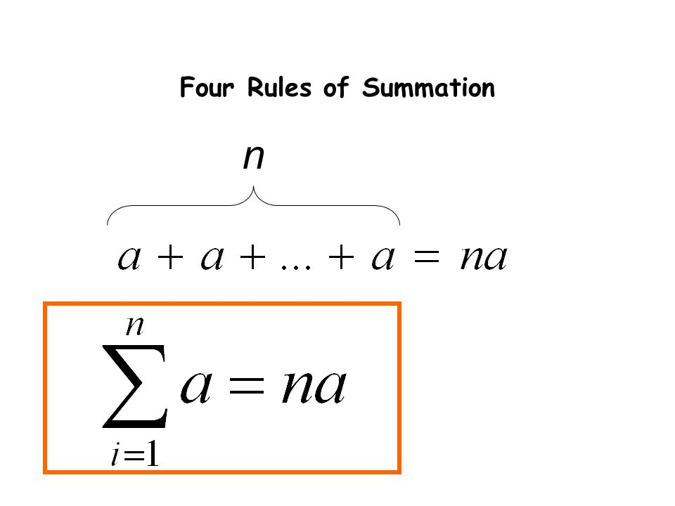 Four Rules of Summation n