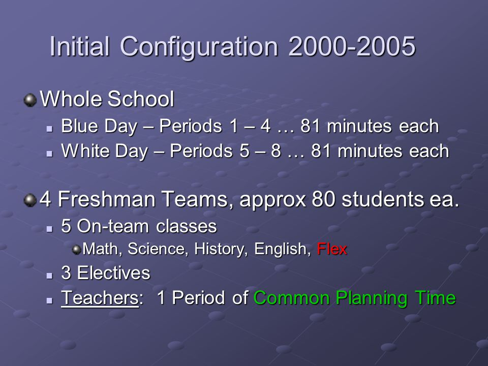 Initial Configuration 2000-2005 Whole School Blue Day – Periods 1 – 4 … 81 minutes each Blue Day – Periods 1 – 4 … 81 minutes each White Day – Periods 5 – 8 … 81 minutes each White Day – Periods 5 – 8 … 81 minutes each 4 Freshman Teams, approx 80 students ea.
