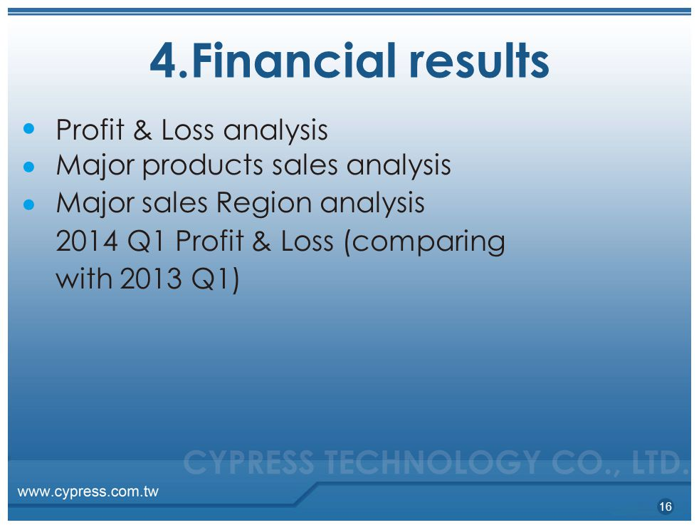 4.Financial results 16 ●●●●●● Profit & Loss analysis Major products sales analysis Major sales Region analysis 2014 Q1 Profit & Loss (comparing with 2013 Q1)