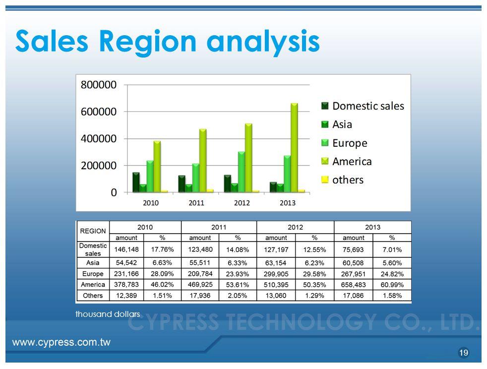 SalesRegion analysis 19 thousand dollars