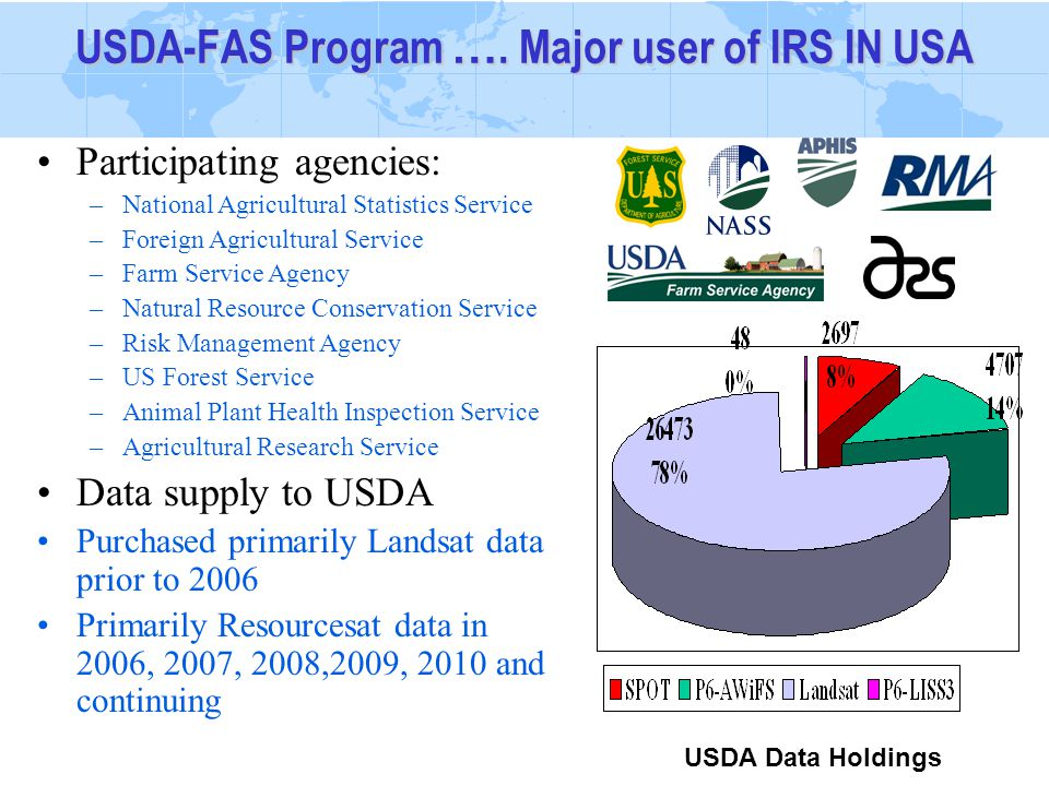 Participating agencies: –National Agricultural Statistics Service –Foreign Agricultural Service –Farm Service Agency –Natural Resource Conservation Service –Risk Management Agency –US Forest Service –Animal Plant Health Inspection Service –Agricultural Research Service Data supply to USDA Purchased primarily Landsat data prior to 2006 Primarily Resourcesat data in 2006, 2007, 2008,2009, 2010 and continuing USDA-FAS Program ….