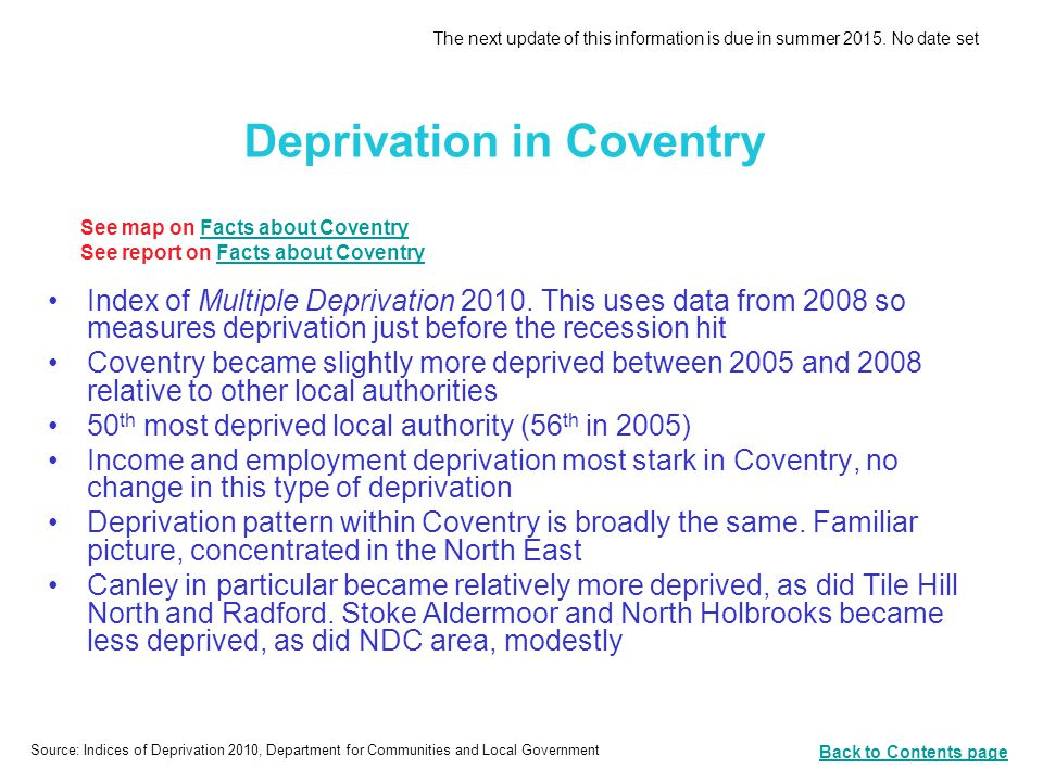 Deprivation in Coventry Index of Multiple Deprivation 2010.