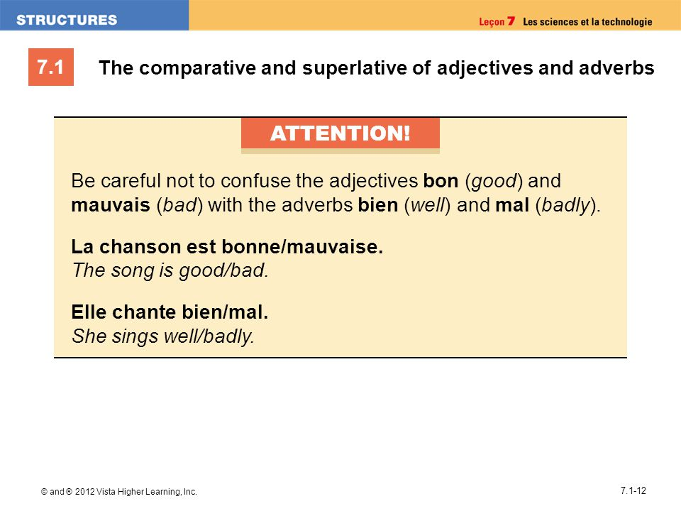 7.1 © and ® 2012 Vista Higher Learning, Inc. 7.1-12 ATTENTION! Be careful not to confuse the adjectives bon (good) and mauvais (bad) with the adverbs