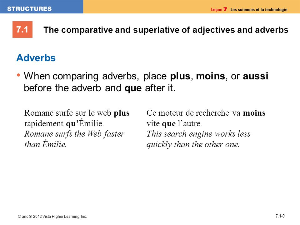 7.1 © and ® 2012 Vista Higher Learning, Inc. 7.1-9 Adverbs When comparing adverbs, place plus, moins, or aussi before the adverb and que after it. Rom
