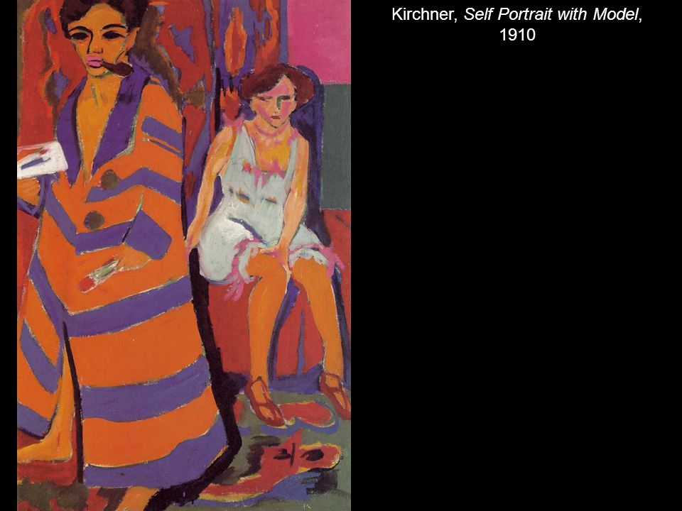 Kirchner, Self Portrait with Model, 1910