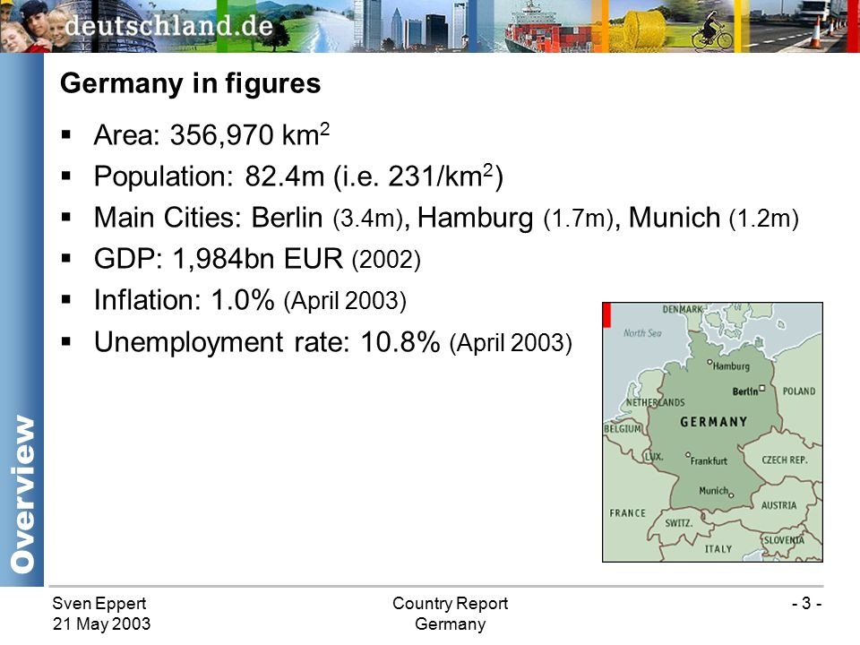 Sven EppertCountry Report Germany 21 May 2003 - 3 - Germany in figures  Area: 356,970 km 2  Population: 82.4m (i.e.