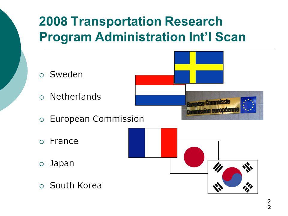 2 2008 Transportation Research Program Administration Int'l Scan  Sweden  Netherlands  European Commission  France  Japan  South Korea 2