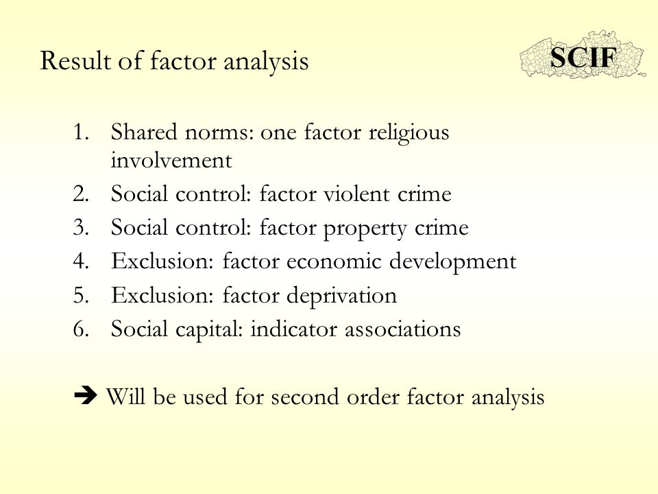 Result of factor analysis 1.Shared norms: one factor religious involvement 2.Social control: factor violent crime 3.Social control: factor property cr