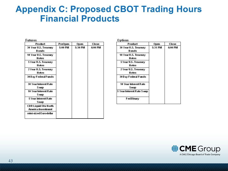 43 Appendix C: Proposed CBOT Trading Hours Financial Products