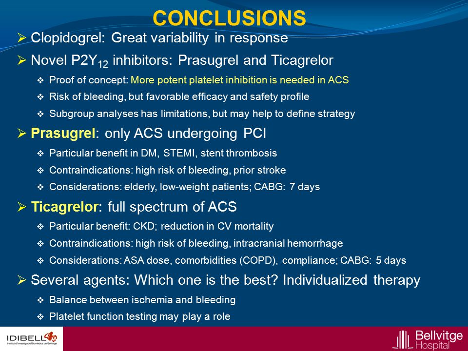  Clopidogrel: Great variability in response  Novel P2Y 12 inhibitors: Prasugrel and Ticagrelor  Proof of concept: More potent platelet inhibition i