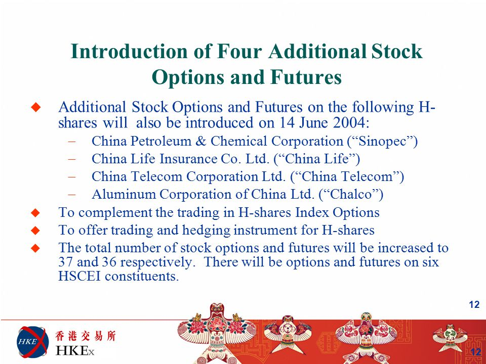 12 Introduction of Four Additional Stock Options and Futures u Additional Stock Options and Futures on the following H- shares will also be introduced on 14 June 2004:  China Petroleum & Chemical Corporation ( Sinopec )  China Life Insurance Co.