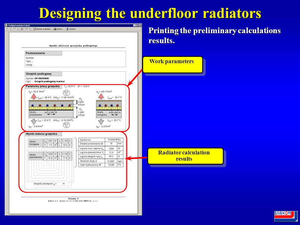 Designing the underfloor radiators Preliminary calculations.