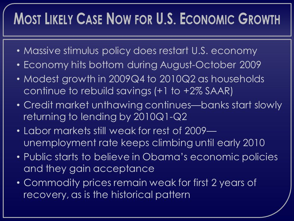 M OST L IKELY C ASE N OW FOR U.S. E CONOMIC G ROWTH Massive stimulus policy does restart U.S.