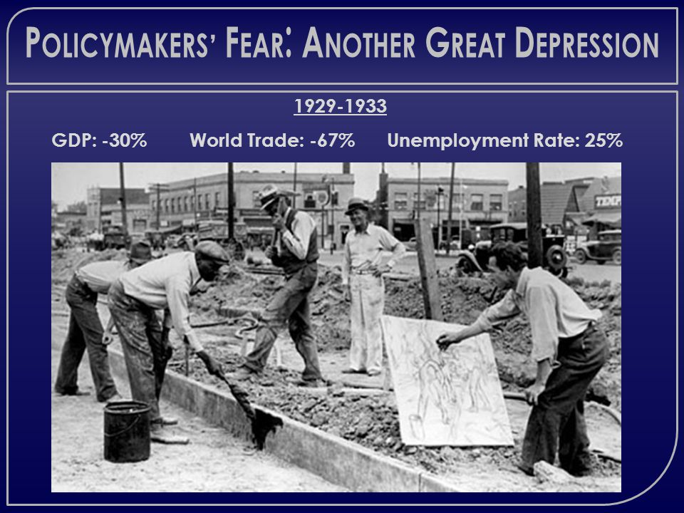 P OLICYMAKERS ' F EAR : A NOTHER G REAT D EPRESSION 1929-1933 GDP: -30% World Trade: -67% Unemployment Rate: 25%
