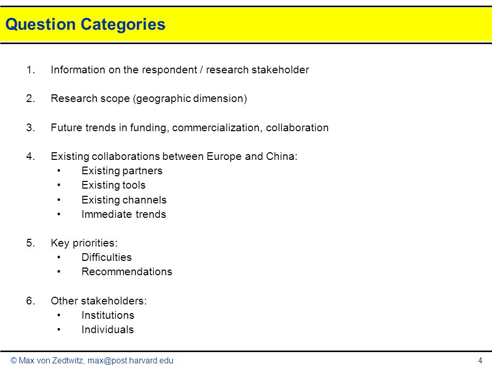 © Max von Zedtwitz, max@post.harvard.edu Question Categories 4 1.Information on the respondent / research stakeholder 2.Research scope (geographic dimension) 3.Future trends in funding, commercialization, collaboration 4.Existing collaborations between Europe and China: Existing partners Existing tools Existing channels Immediate trends 5.Key priorities: Difficulties Recommendations 6.Other stakeholders: Institutions Individuals