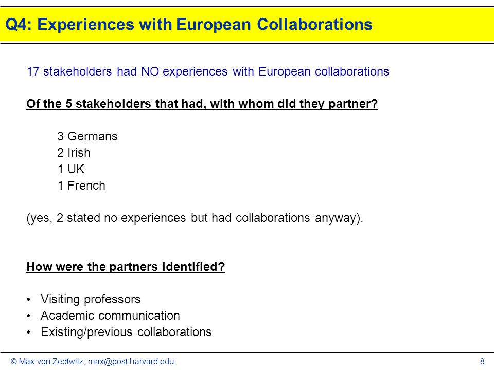 © Max von Zedtwitz, max@post.harvard.edu Q4: Experiences with European Collaborations 9 What was the added value of these collaborations.