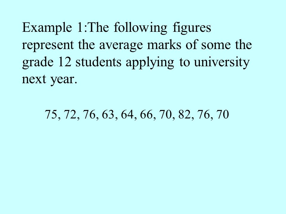 Example 1:The following figures represent the average marks of some the grade 12 students applying to university next year.