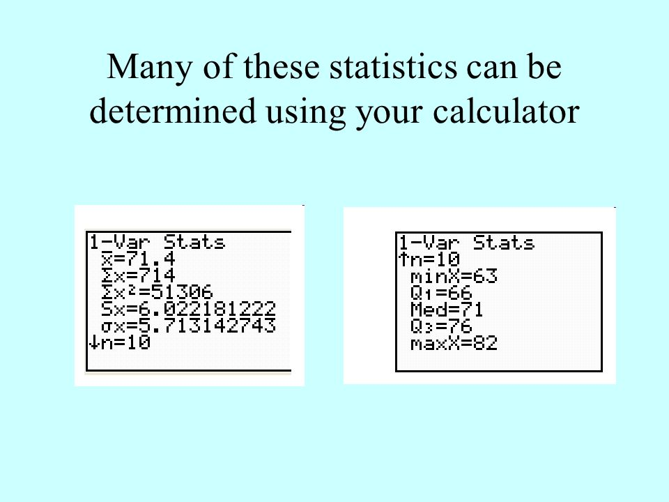 Many of these statistics can be determined using your calculator