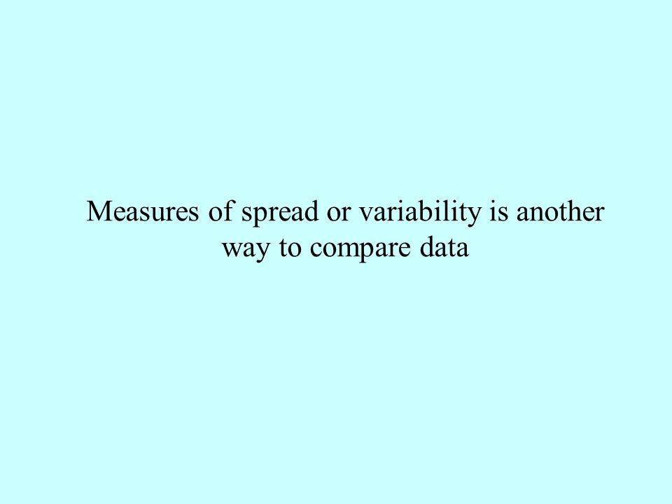 Measures of spread or variability is another way to compare data