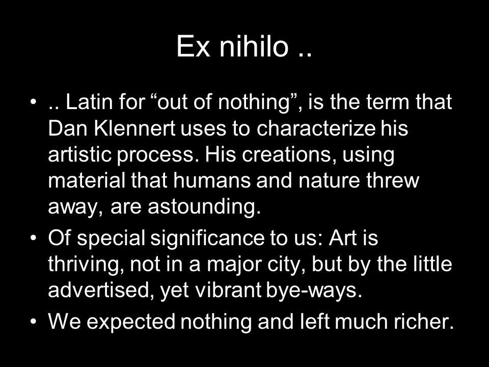 Ex nihilo....
