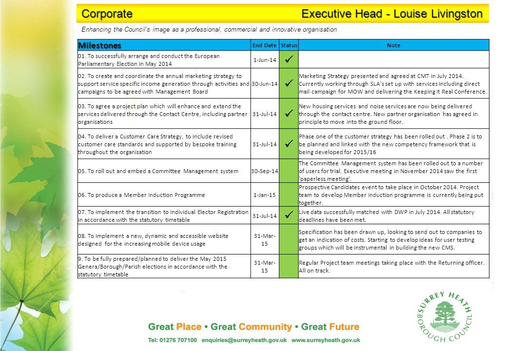 Corporate Executive Head - Louise Livingston Milestones End DateStatusNote 01.