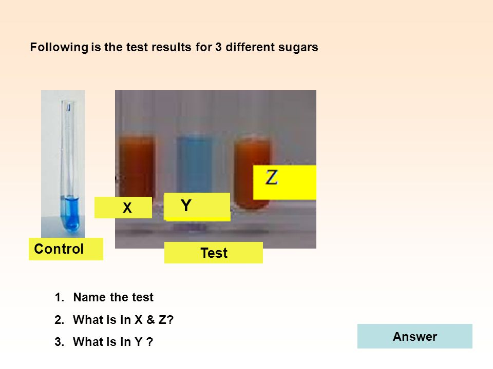 X Control Test Following is the test results for 3 different sugars 1.Name the test 2.What is in X & Z? 3.What is in Y ? Answer Y