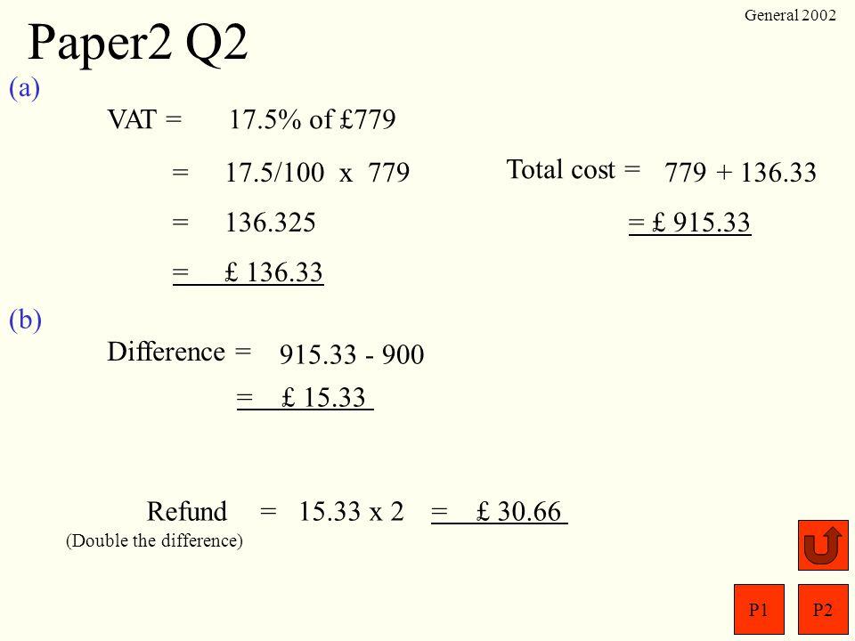 P1P2 General 2002 Paper2 Q1 D = S = T= List ; ? 76 km/h 3 hrs 45 mins 45 mins =45/60 hrs =0.75 hrs = 3.75 hrs D ST D = S x T = 76 x 3.75 = 285 km ?
