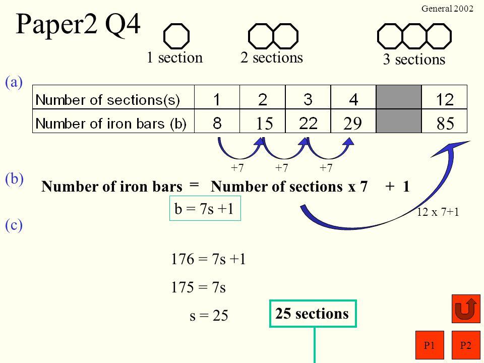 P1P2 General 2002 Paper2 Q3 450 cm 40 cm (a)From formula sheet; V = r 2 h = 3.14 x (20) 2 x 450 = 565486.68 = 565 000 cm 3 (b) 5 6 5 0 0 0=5.65 x 10 5