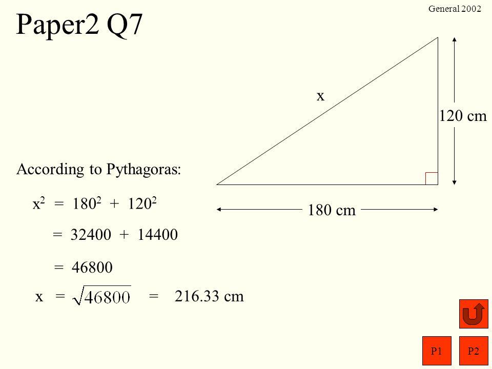 P1P2 General 2002 P Q R S 12 cm 20 cm In a rhombus,diagonals are bisected at right angles.P Q 10 cm 6 cm Paper2 Q6 SOHCAHTOA O TA = 1.667 x o = tan –1