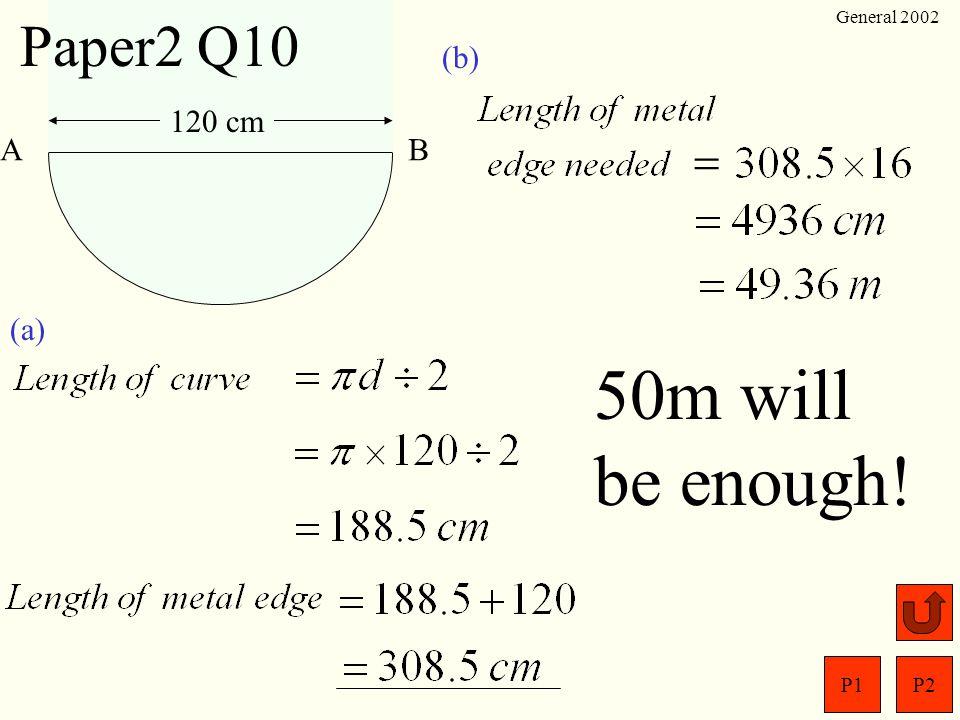 P1P2 General 2002 Paper2 Q9 (a) (b) 4 ( 3x + 2) = 68 12x+ 8= 68 12x= 60 x= 5 10y +15= 5 ( )2y+3