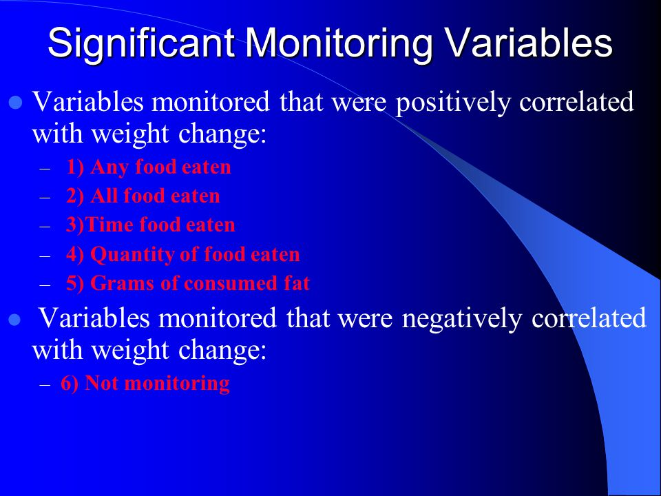 Significant Monitoring Variables Variables monitored that were positively correlated with weight change: – 1) Any food eaten – 2) All food eaten – 3)Time food eaten – 4) Quantity of food eaten – 5) Grams of consumed fat Variables monitored that were negatively correlated with weight change: – 6) Not monitoring