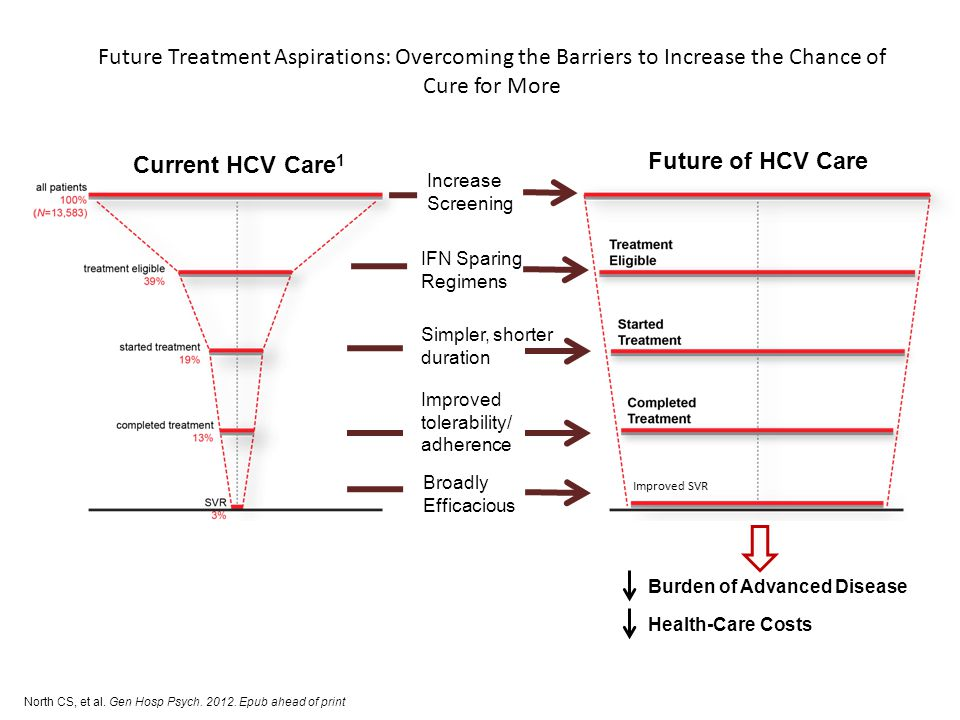 Future Treatment Aspirations: Overcoming the Barriers to Increase the Chance of Cure for More Current HCV Care 1 Future of HCV Care North CS, et al. G
