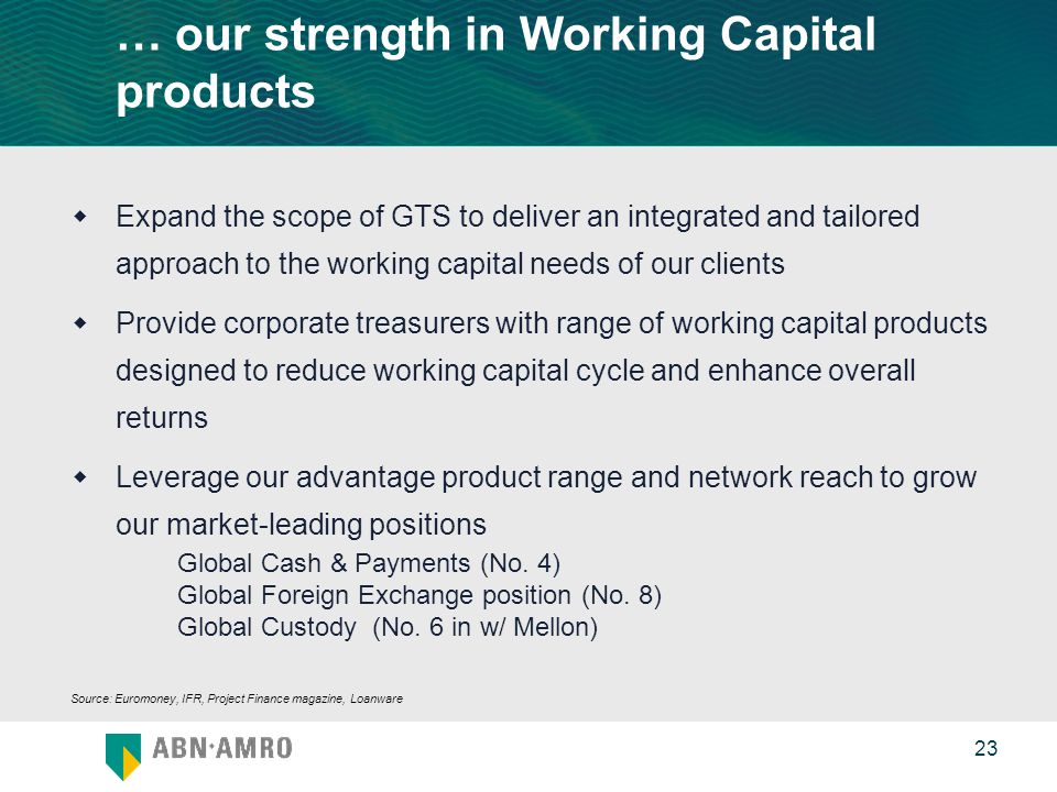 0 23 … our strength in Working Capital products  Expand the scope of GTS to deliver an integrated and tailored approach to the working capital needs of our clients  Provide corporate treasurers with range of working capital products designed to reduce working capital cycle and enhance overall returns  Leverage our advantage product range and network reach to grow our market-leading positions Global Cash & Payments (No.