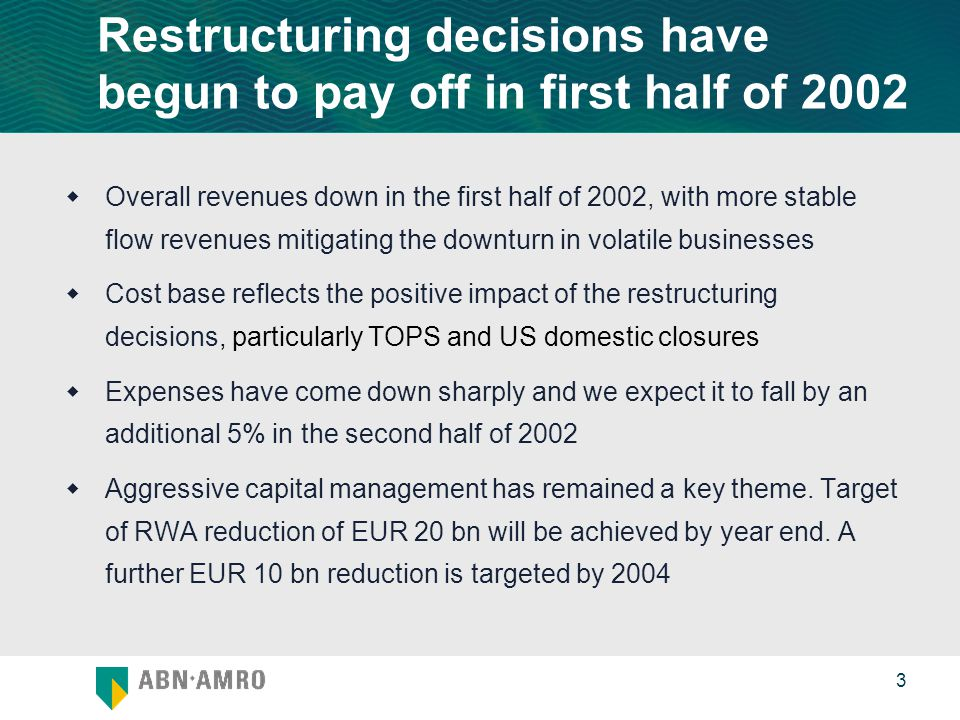 0 3 Restructuring decisions have begun to pay off in first half of 2002  Overall revenues down in the first half of 2002, with more stable flow revenues mitigating the downturn in volatile businesses  Cost base reflects the positive impact of the restructuring decisions, particularly TOPS and US domestic closures  Expenses have come down sharply and we expect it to fall by an additional 5% in the second half of 2002  Aggressive capital management has remained a key theme.