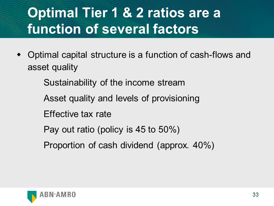 0 33 Optimal Tier 1 & 2 ratios are a function of several factors  Optimal capital structure is a function of cash-flows and asset quality Sustainability of the income stream Asset quality and levels of provisioning Effective tax rate Pay out ratio (policy is 45 to 50%) Proportion of cash dividend (approx.