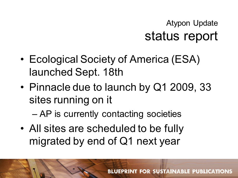 Atypon Update status report Ecological Society of America (ESA) launched Sept.